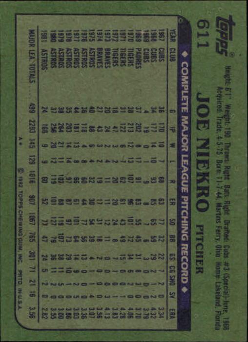 1982 Topps #611 Joe Niekro back image