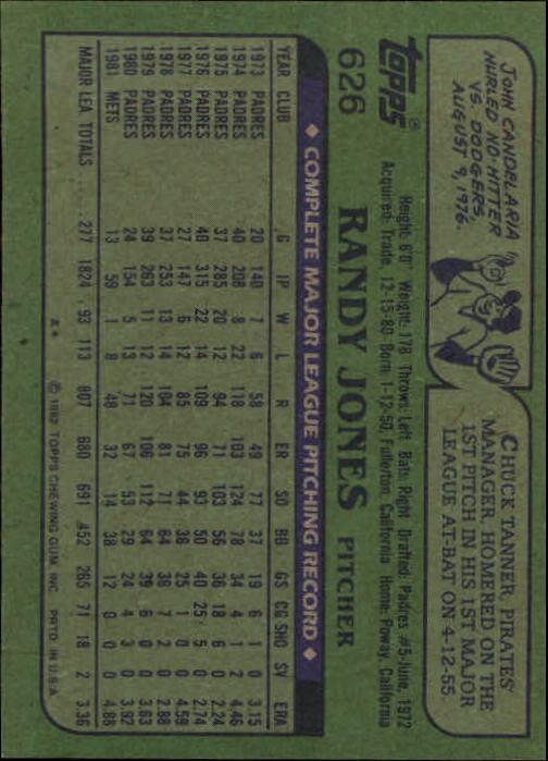 1982 Topps #626 Randy Jones back image
