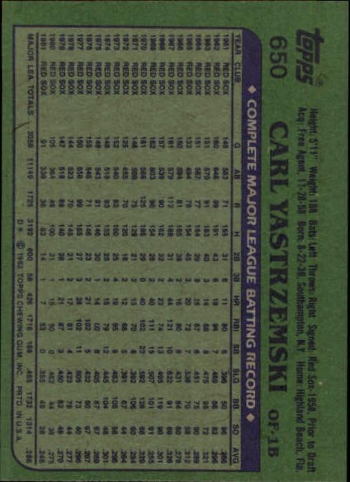 1982 Topps #650 Carl Yastrzemski back image