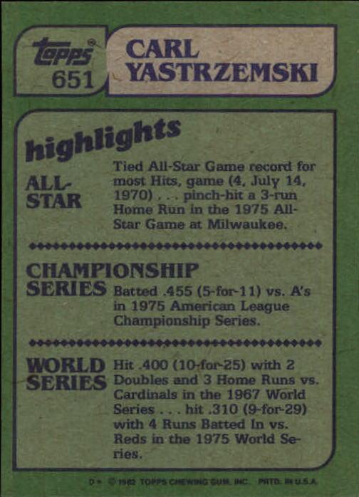 1982 Topps #651 Carl Yastrzemski IA back image