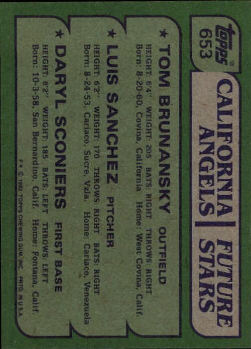 1982 Topps #653 Tom Brunansky RC/Luis Sanchez RC/Daryl Sconiers RC back image