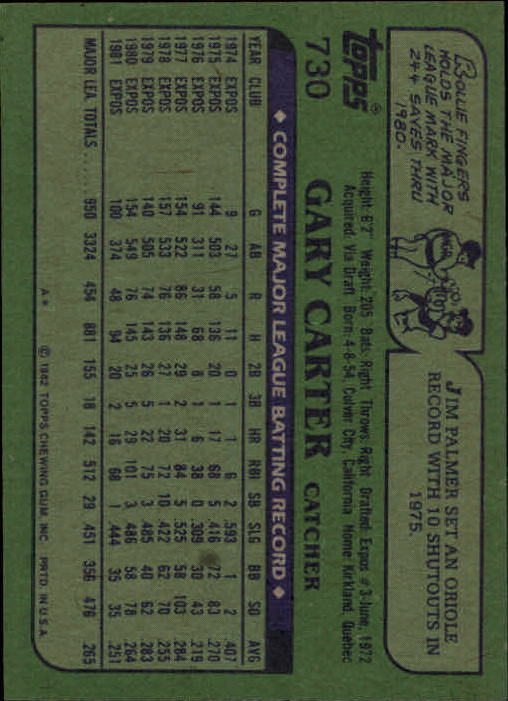 1982 Topps #730 Gary Carter back image
