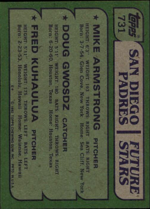 1982 Topps #731 Mike Armstrong/Doug Gwosdz RC/Fred Kuhaulua back image