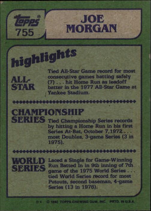 1982 Topps #755 Joe Morgan IA back image