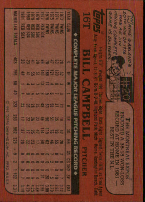 1982 Topps Traded #16T Bill Campbell back image
