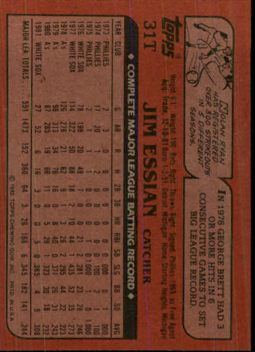 1982 Topps Traded #31T Jim Essian back image