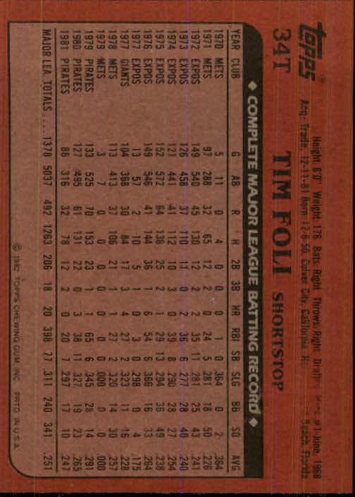 1982 Topps Traded #34T Tim Foli back image