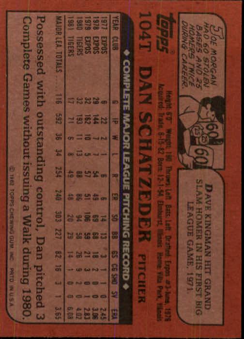 1982 Topps Traded #104T Dan Schatzeder back image