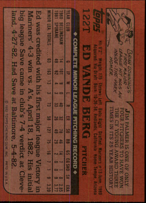 1982 Topps Traded #122T Ed VandeBerg back image