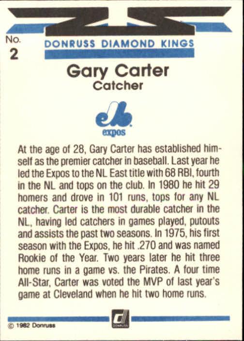 1982 Donruss #2 Gary Carter DK back image