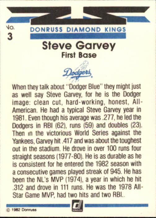 1982 Donruss #3 Steve Garvey DK back image