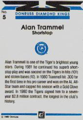 1982 Donruss #5A Alan Trammel DK ERR/Name misspelled back image