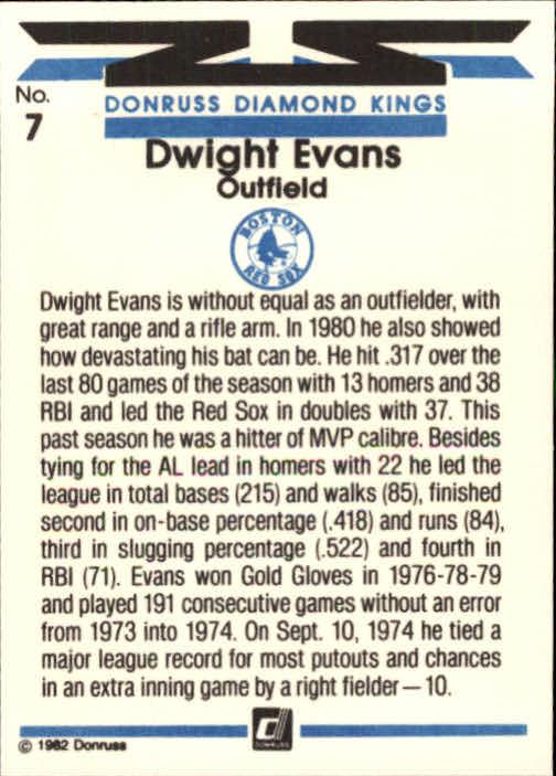 1982 Donruss #7 Dwight Evans DK back image