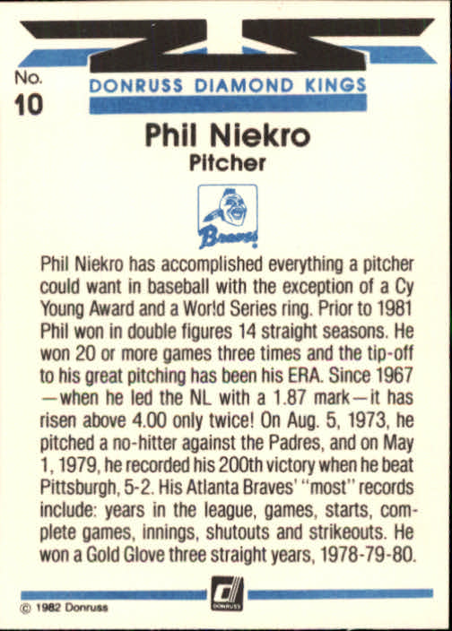 1982 Donruss #10 Phil Niekro DK back image