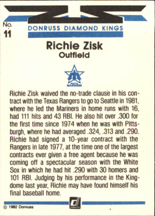 1982 Donruss #11 Richie Zisk DK back image