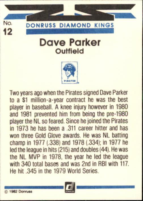 1982 Donruss #12 Dave Parker DK back image