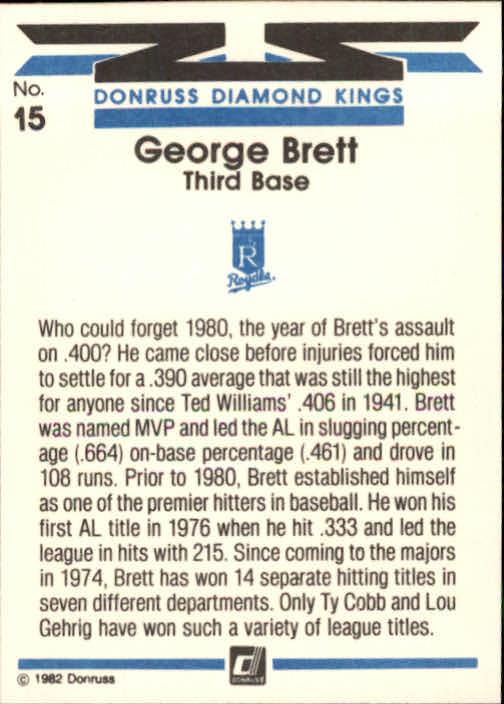 1982 Donruss #15 George Brett DK back image