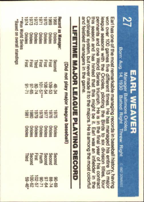 1982 Donruss #27 Earl Weaver MG back image