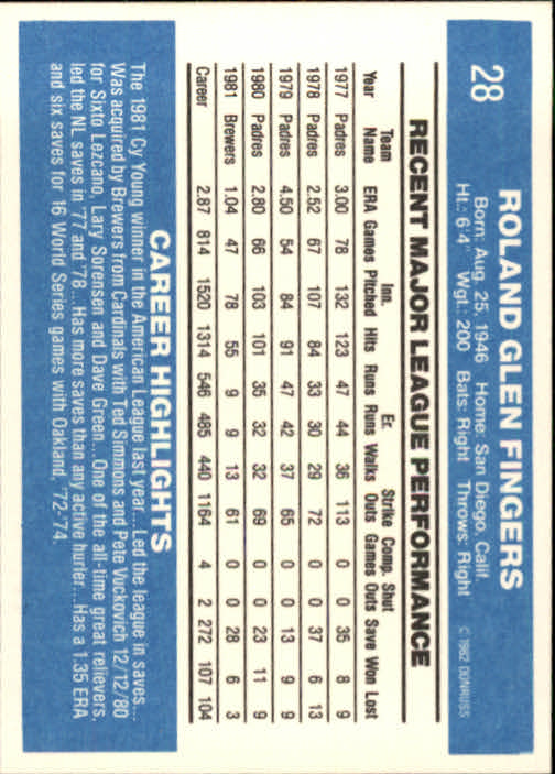 1982 Donruss #28 Rollie Fingers back image