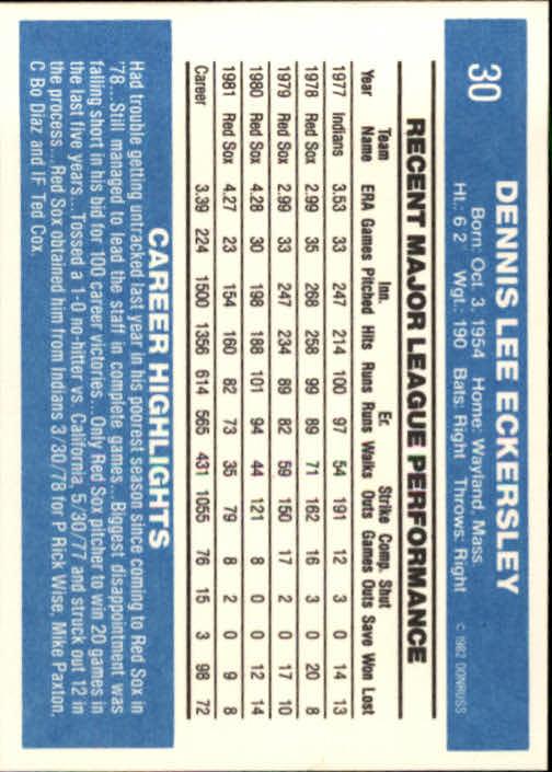 1982 Donruss #30 Dennis Eckersley back image