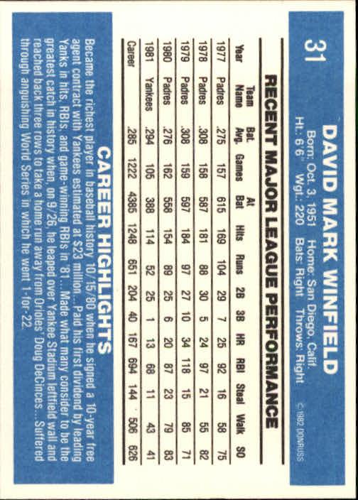 1982 Donruss #31 Dave Winfield back image