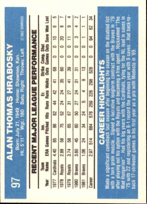 1982 Donruss #97 Al Hrabosky back image