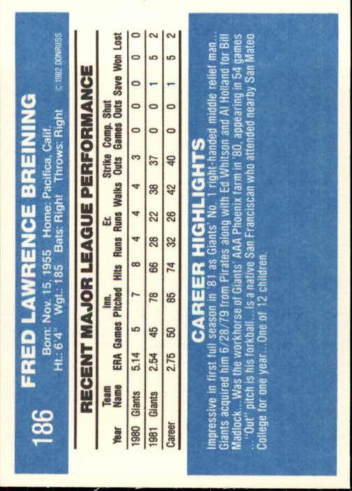 1982 Donruss #186 Fred Breining back image