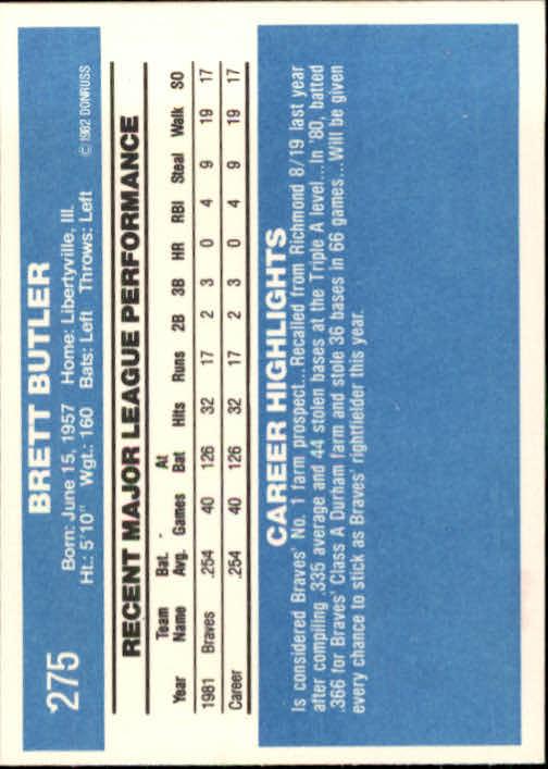 1982 Donruss #275 Brett Butler RC back image
