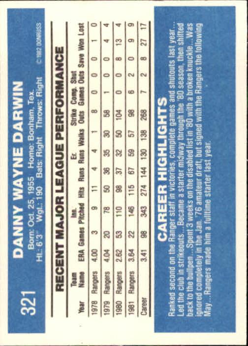 1982 Donruss #321 Danny Darwin back image