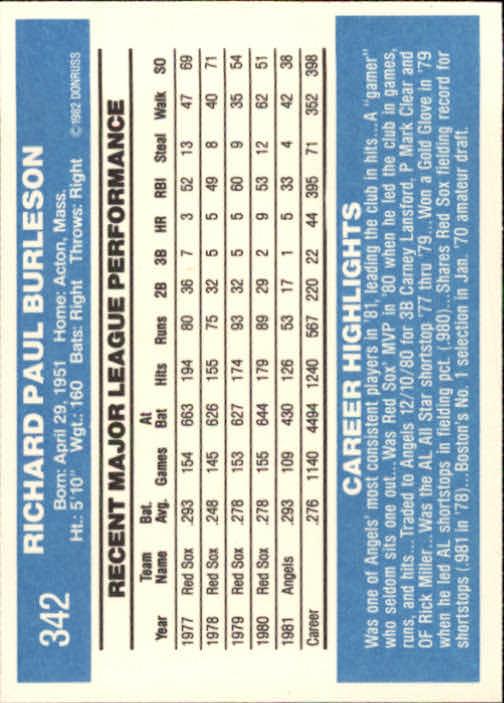 1982 Donruss #342 Rick Burleson back image