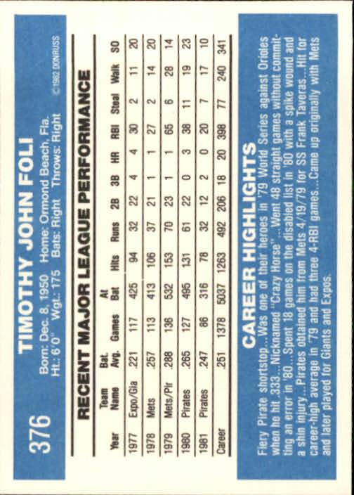 1982 Donruss #376 Tim Foli back image
