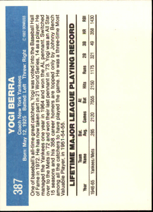 1982 Donruss #387 Yogi Berra CO back image