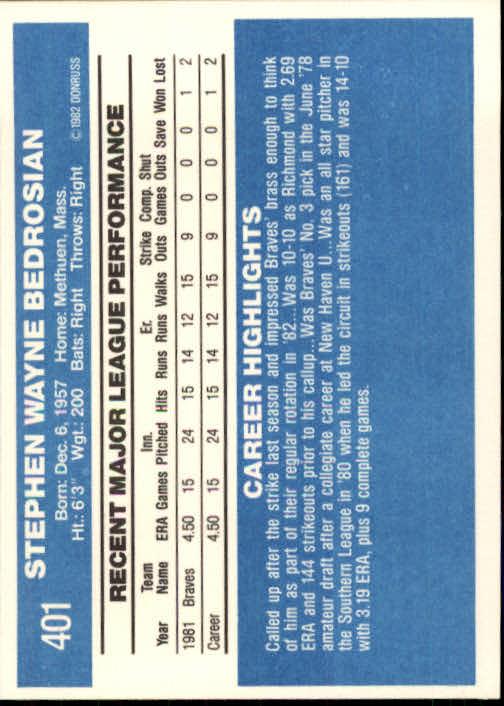 1982 Donruss #401 Steve Bedrosian RC back image