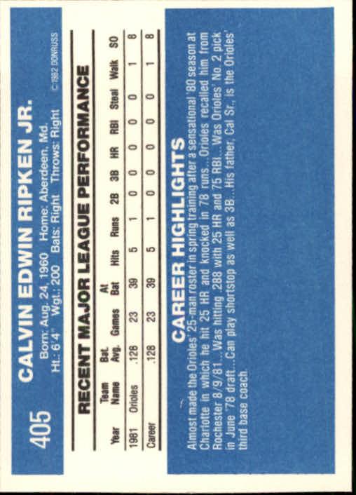 1982 Donruss #405 Cal Ripken RC back image