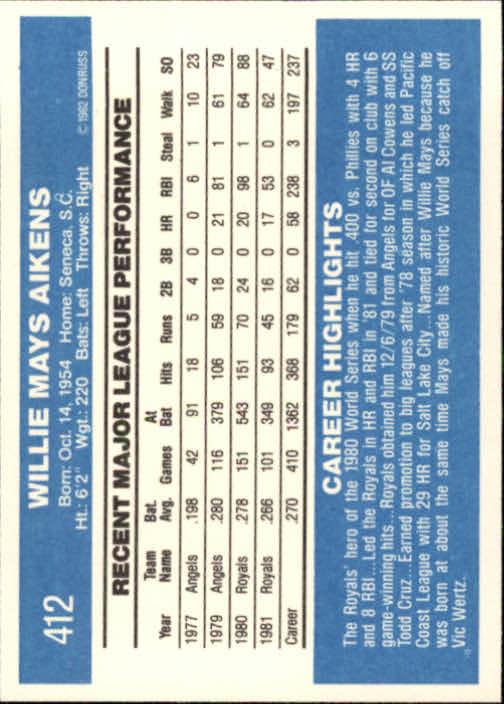 1982 Donruss #412 Willie Aikens back image