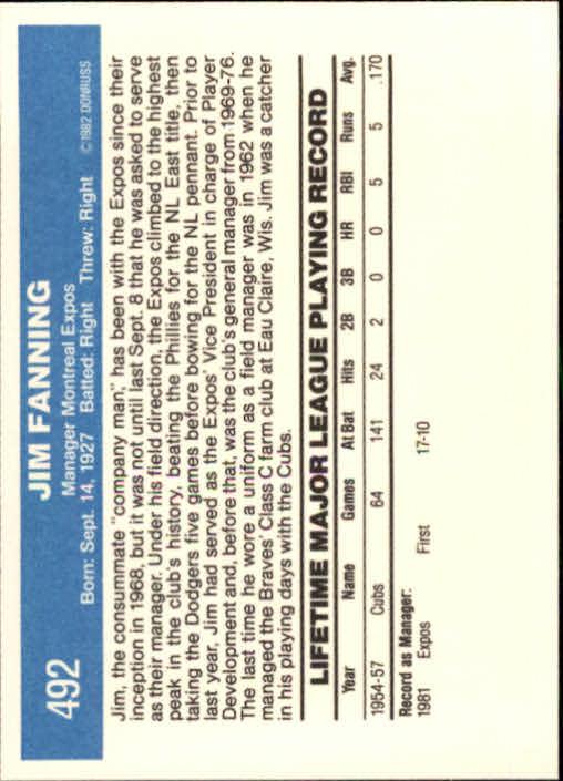 1982 Donruss #492 Jim Fanning MG back image