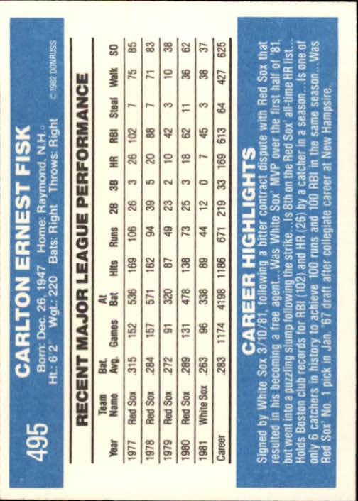 1982 Donruss #495 Carlton Fisk back image