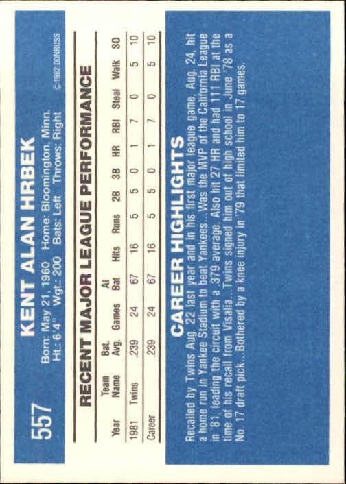 1982 Donruss #557 Kent Hrbek RC back image