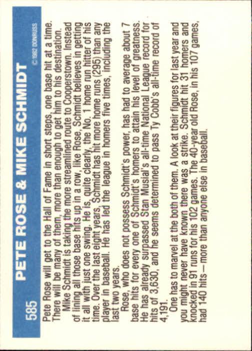 1982 Donruss #585 Phillies Finest/Pete Rose/Mike Schmidt back image