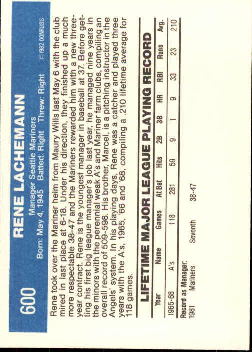 1982 Donruss #600 Rene Lachemann MG back image
