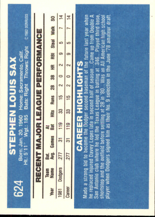 1982 Donruss #624 Steve Sax RC back image