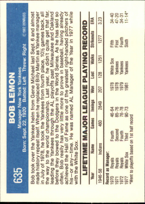 1982 Donruss #635 Bob Lemon MG back image