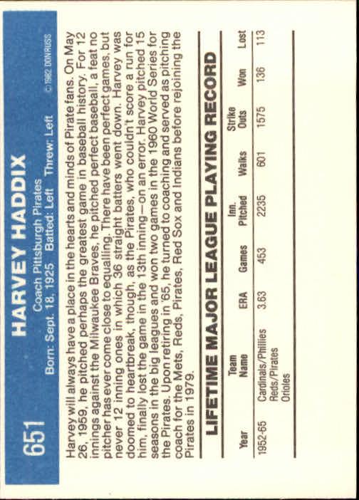 1982 Donruss #651 Harvey Haddix CO back image