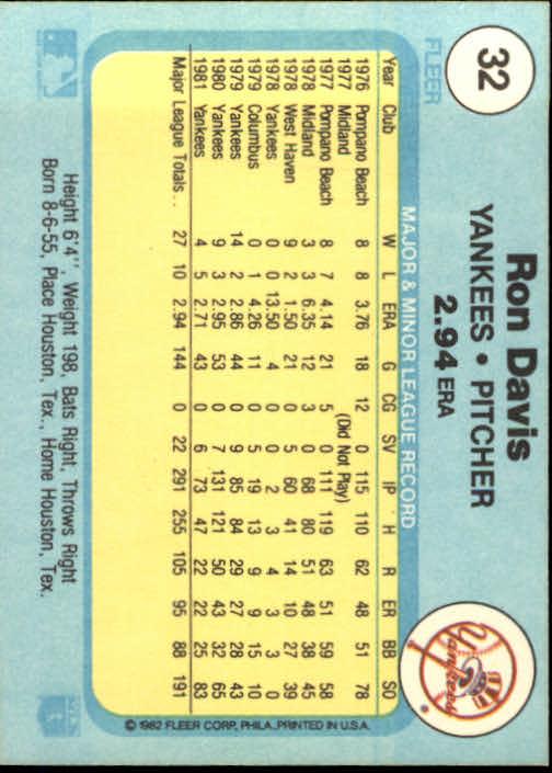 1982 Fleer #32 Ron Davis back image