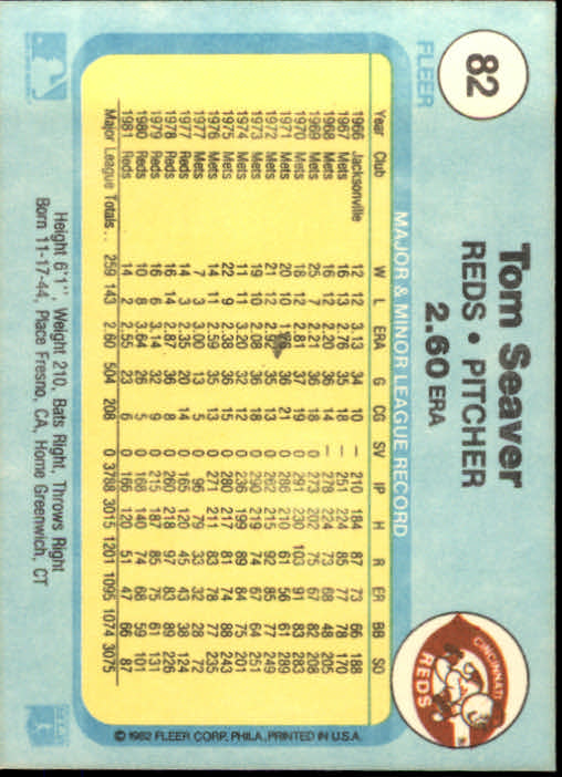 1982 Fleer #82 Tom Seaver back image