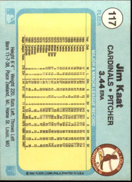 1982 Fleer #117 Jim Kaat back image
