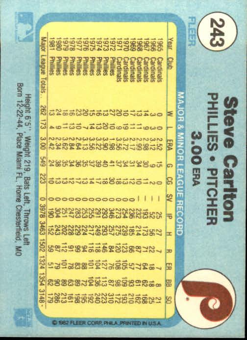 1982 Fleer #243 Steve Carlton back image
