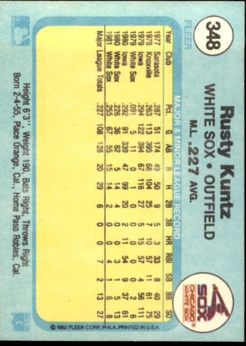 1982 Fleer #348 Rusty Kuntz back image