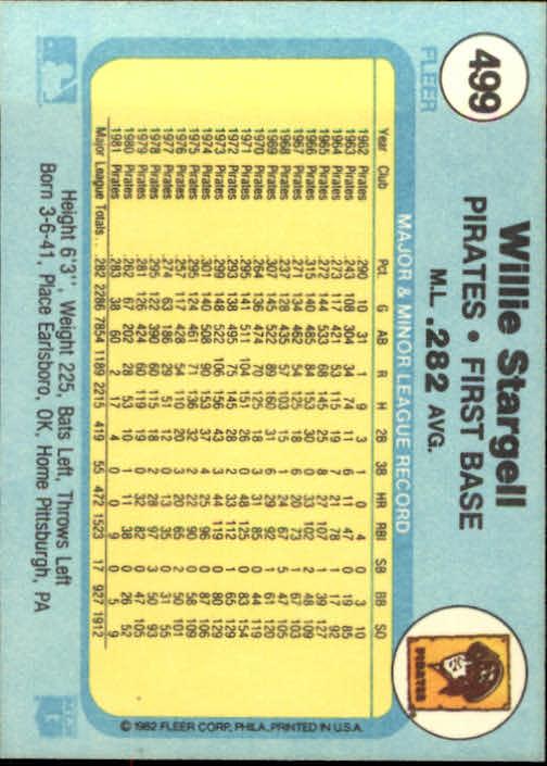1982 Fleer #499 Willie Stargell back image