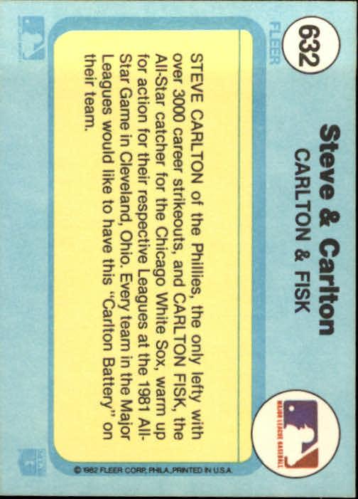 1982 Fleer #632 Steve Carlton/Carlton Fisk back image